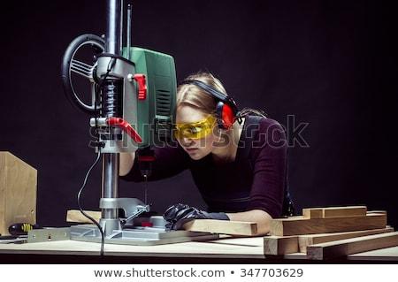genç · ciddi · işçi · matkap · adam · kâğıt - stok fotoğraf © is2
