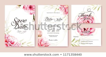 Cute invitation de mariage carte floral coeur fête Photo stock © SArts