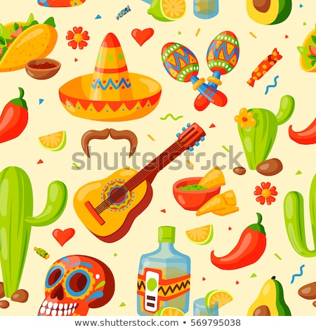 mexico icons seamless pattern   traditional mexican elements background stock photo © natali_brill
