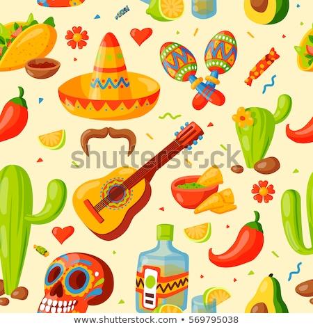 Mexikó · térkép · vektor · színes · számítógép · utazás - stock fotó © natali_brill