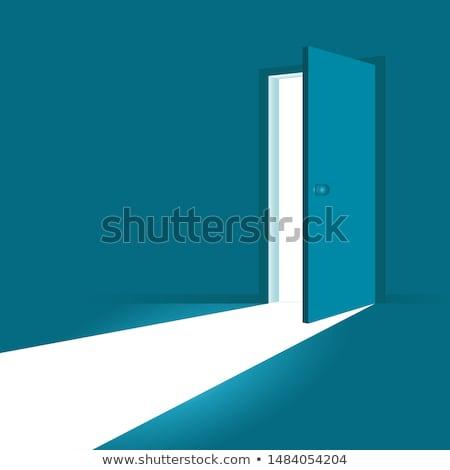 Nyitott ajtó fényes szoba modern téglafal fapadló Stock fotó © andreasberheide