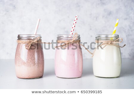 strawberry milshake from above stock photo © mpessaris