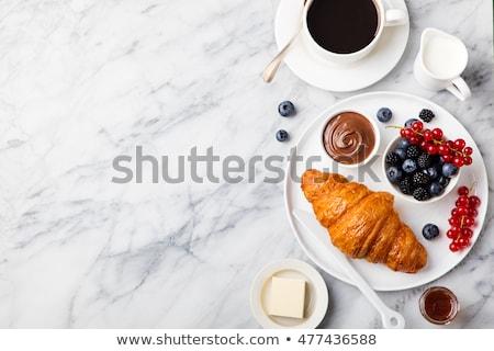 Pequeno-almoço continental café chá croissant fundo pão Foto stock © M-studio