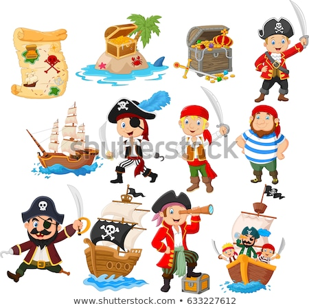 pirate and happy kids at island stock photo © bluering