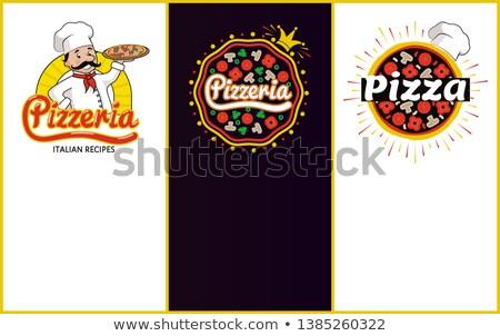 Pizzacı İtalyan yemek tarifleri promo afişler ayarlamak Stok fotoğraf © robuart