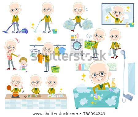 Geel oude man ingesteld internet winkelen Stockfoto © toyotoyo