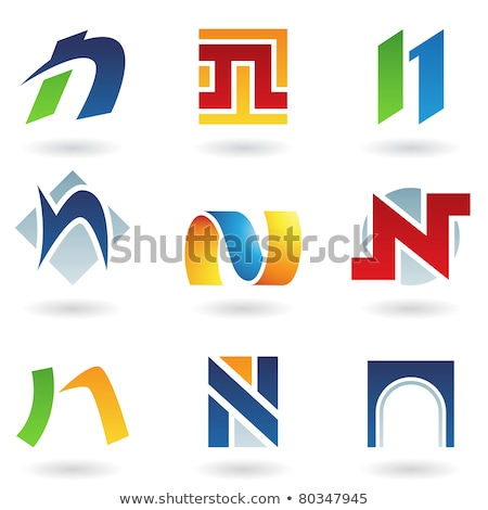Red Striped Icon for Letter N Vector Illustration Stock photo © cidepix