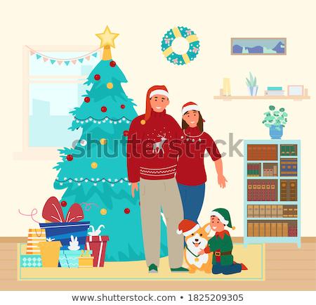 gelukkig · vrouw · kerstboom · geïsoleerd · witte · christmas - stockfoto © pikepicture