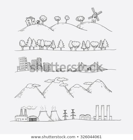 Casa Hill doodle disegno stile alberi Foto d'archivio © zsooofija