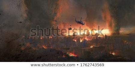 Tornádó város jelenet illusztráció fa épület Stock fotó © bluering