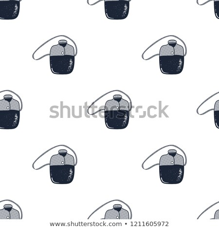 Flask pattern. Camping equipment seamless background. Hiking gear wallpaper. Stock vector illustrati Stock photo © JeksonGraphics