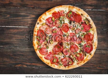 Rústico velho estilo vintage pizza madeira Foto stock © Peteer