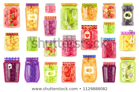 консервированный продовольствие плакатов растительное фрукты огурцы Сток-фото © robuart
