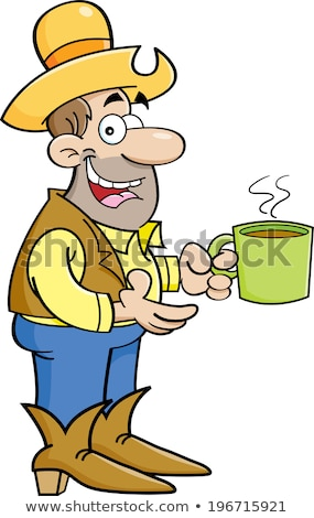 Cartoon cowboy with cup of coffee stock photo © bennerdesign