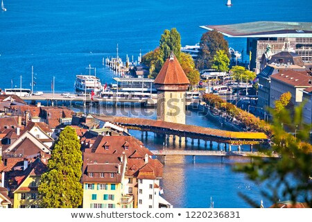 Ciudad panorámica vista alpes agua paisaje Foto stock © xbrchx