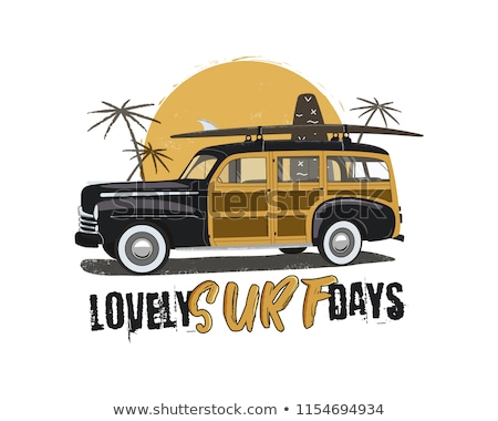 vintage surfing emblem with retro woodie car lovely surf days typography included surfboards palm stock photo © jeksongraphics