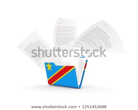 Ordner Flagge demokratischen Republik Kongo Dateien Stock foto © MikhailMishchenko