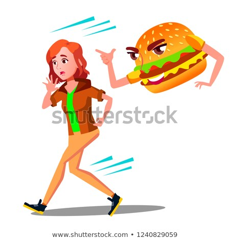 hamburger · illustration · isolé · blanche · dîner · noir - photo stock © pikepicture