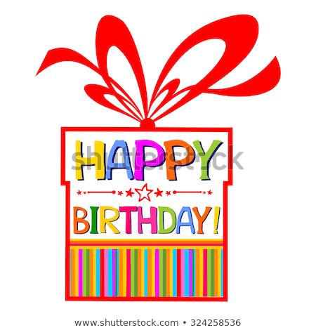 Gelukkige verjaardag kaart geïsoleerd gestreept achtergrond speciaal Stockfoto © robuart