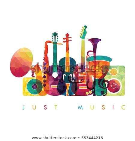 Strumenti musicali note musicali illustrazione arte bianco percorso Foto d'archivio © colematt