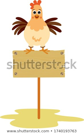 Wooden sign with hen and little chicks Stock photo © colematt