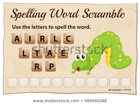 Spelling word scramble game with word caterpillar Stock photo © colematt