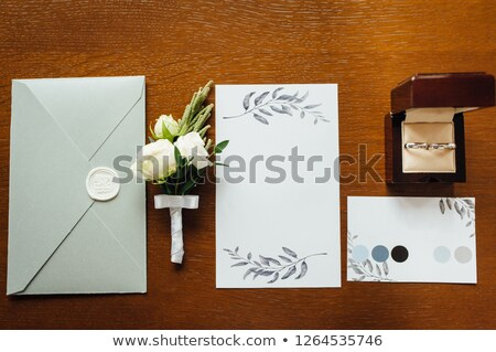 stijlvol · envelop · ringen · bruidegom · papier - stockfoto © ruslanshramko