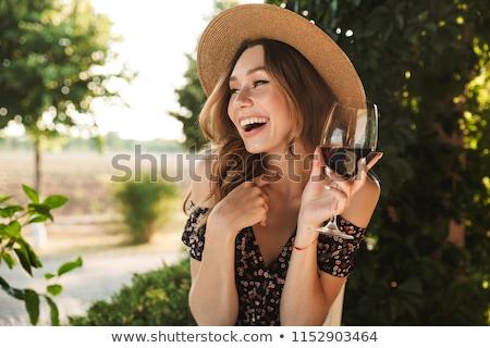Mulher vinho bela mulher garrafa de vinho óculos Foto stock © piedmontphoto