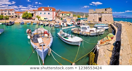 Kastel Stafilic landmarks and turquoise sea panoramic view Stock photo © xbrchx