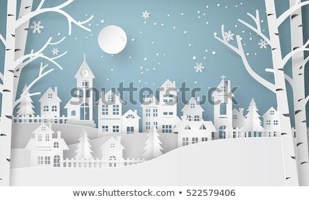 Vidám karácsony kivágás papír épületek városkép Stock fotó © robuart
