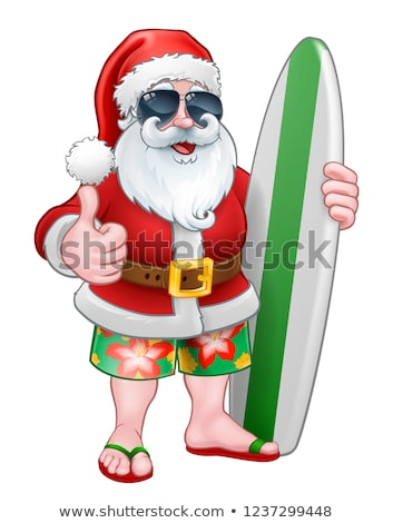cool christmas santa in sunglasses surfing stock photo © krisdog