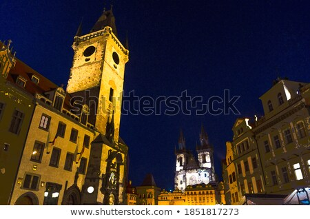 famous prague clock orloj and center of old city at night stock photo © taiga