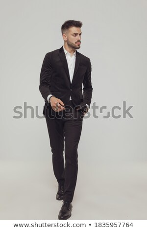 Meraklı adam eller uzak yan Stok fotoğraf © feedough