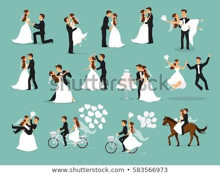 Düğün damat gelin evli gün vektör Stok fotoğraf © robuart