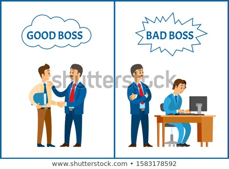 good and bad boss director treating to office workers stock photo © robuart