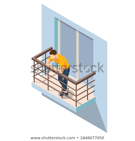 Vektor izometrikus erkély szabadtér bútor fém Stock fotó © tele52