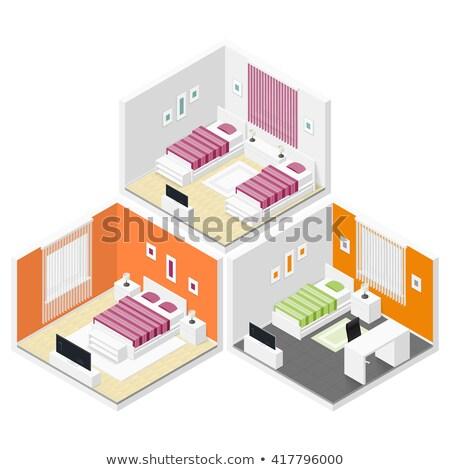 ベクトル アイソメトリック ベッド ワードローブ ダブル ベッド ストックフォト © tele52