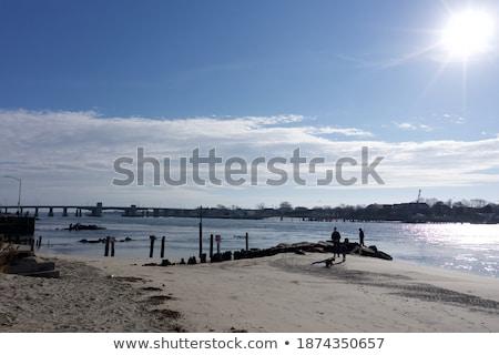 Familie vissen stenen zonsondergang strand water Stockfoto © frimufilms