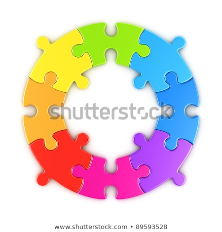 rainbow colored puzzle jigsaw pieces 3d stock photo © djmilic