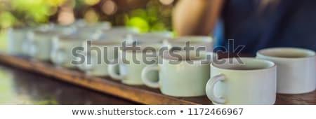 試飲 コーヒー 茶 バナー 長い ストックフォト © galitskaya