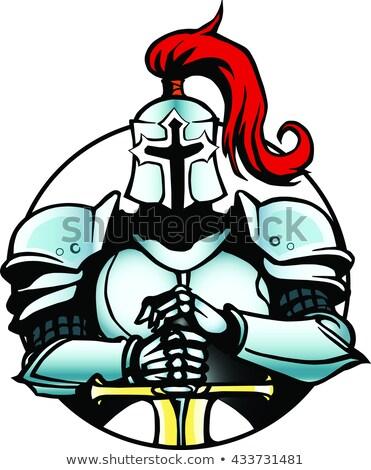 knight helmet with feathers isolate on white background Stock photo © studiostoks