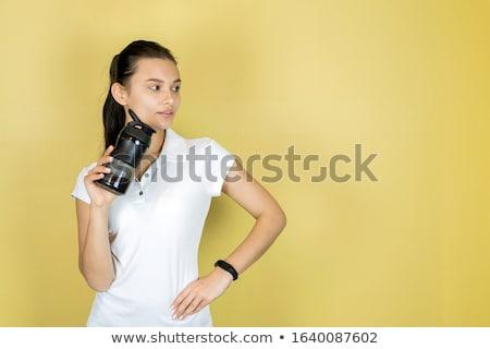 Stock fotó: Fiatal · nők · citromsárga · sport · póló · ivóvíz · tornaterem