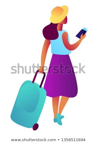 Feminino turista mala passaporte bilhete isométrica Foto stock © RAStudio