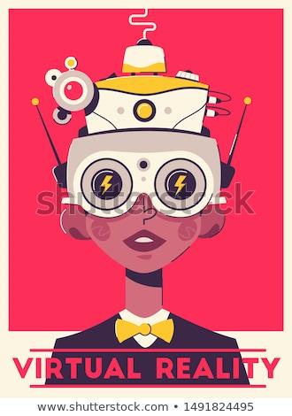 Color vintage Virtual Reality poster Сток-фото © netkov1