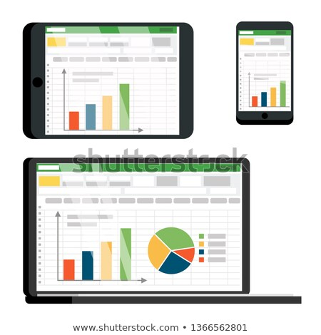 Spreadsheet Table On Tablet, Smartphone Vector Screen Set Zdjęcia stock © pikepicture