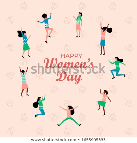 Happy Woman with Flowers, Jumping Lady on Holiday Stock photo © robuart