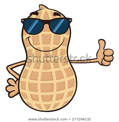 Funny Peanut Cartoon Mascot Character With Sunglasses Giving A Thumb Up Stock photo © hittoon