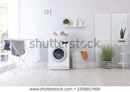 Spălătorie cameră masina de spalat interior real acasă Imagine de stoc © choreograph