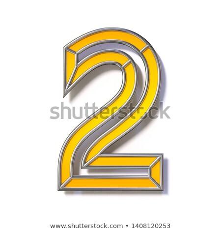 Narancs fém drót betűtípus szám kettő Stock fotó © djmilic