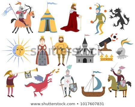 Establecer medieval carácter ilustración feliz dragón Foto stock © colematt